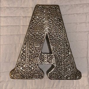 "Other - Decorative silver "" A"" initial for wall/ shelve"